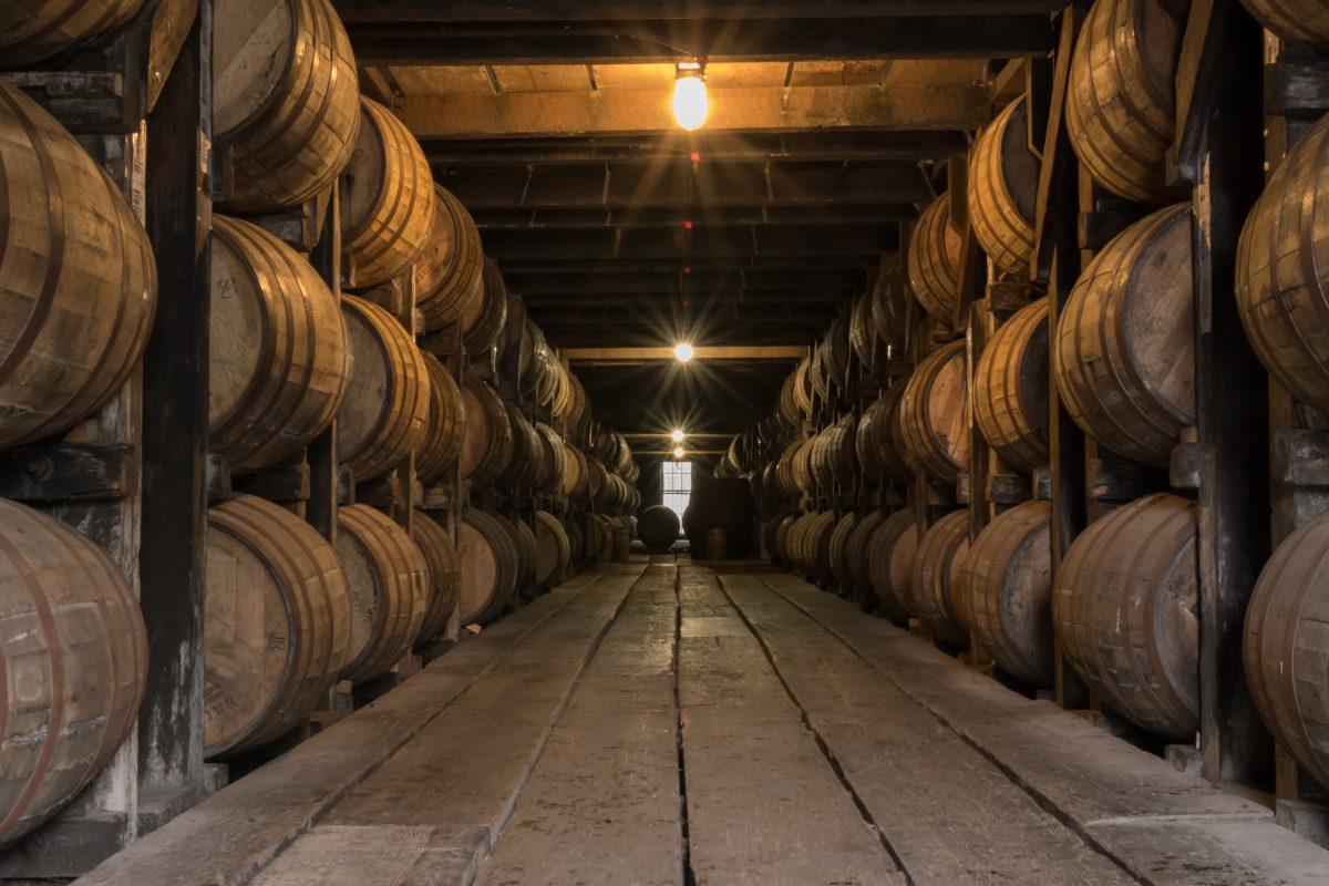 kentucky: Starburst on Lights in Bourbon Aging Warehouse Corridor