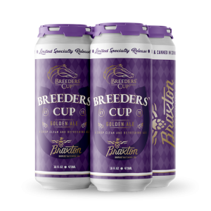 a 4-pack of purple cans the say Breeders' Cup