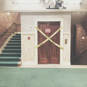 a picture of the elevator doors from the set of the big bang theory