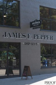 """anniversary: side of the distillery that says """"james e. pepper"""""""