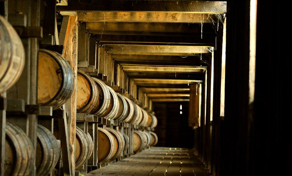Kentucky Bourbon Trail private barrel selection: rack of bourbon barrels