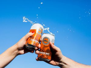 two can's of country boy craft beer cheersing with a blue sky