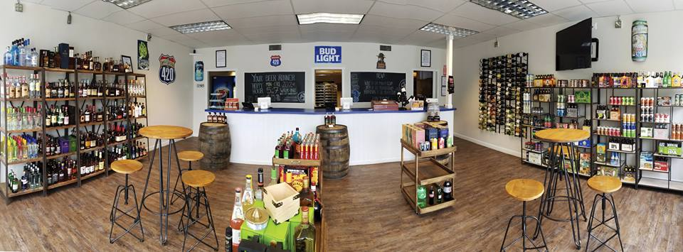 interior of an alcohol store that is closing