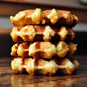 Valentine's Day: stack of 4 small waffles