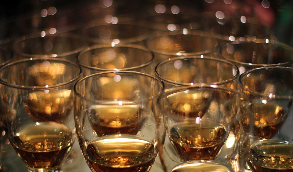 Spirits Competition: lots of glasses filled with a little bit of bourbon
