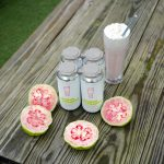 Braxton: pink guava fruit with beer cans and a milkshake