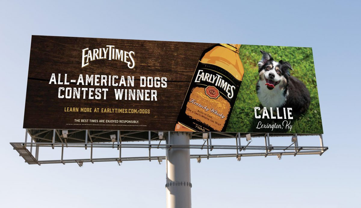 Early Times bilboard with a dog